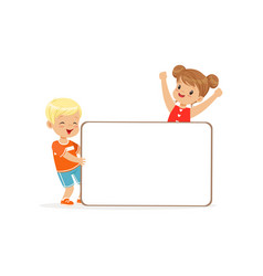 happy boy and girl characters with white empty vector image