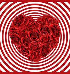 heart made of red roses in photorealistic detailed vector image