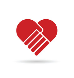 heart with hands in red color vector image