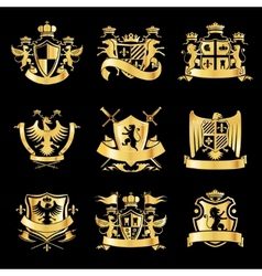Heraldic golden emblems vector