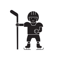 hockey player black concept icon hockey vector image