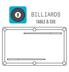 Icon of a billiard ball pool table and cues vector