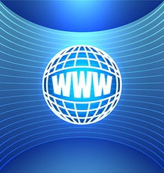 Icon World Wide Web on the Abstract Blue vector image