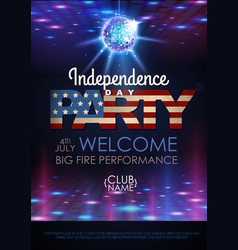 Independence day disco party poster vector