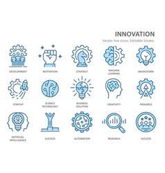 Innovation flat line icons vector