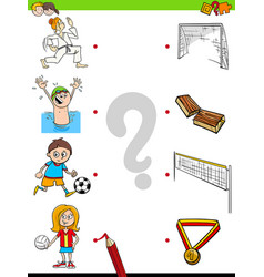 Match children characters and sport activities vector