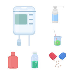 Medicine and treatment cartoon icons in set vector