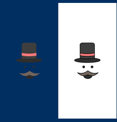 Moustache hipster movember hat men flat color icon vector