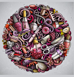 Nail salon hand drawn doodles round vector