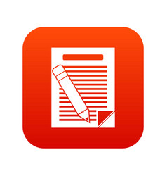 paper and pencil icon digital red vector image