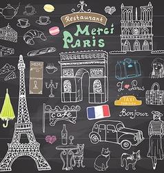 Paris doodles elements Hand drawn set with eiffel vector