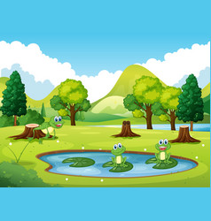 Park scene with three frogs in the pond vector