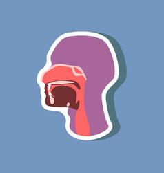 Pharynx paper sticker on stylish background vector