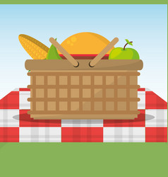 picnic basket full food red and white blanket vector image