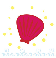 Pink seashell on the beach summer time sea or vector