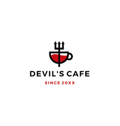 pitchfork mug devil cafe logo icon vector image