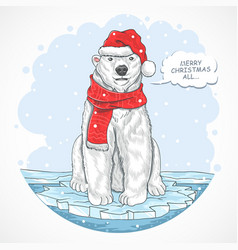 polar bear santa claus vector image