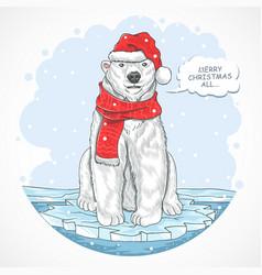 polar bear santa claus vector image