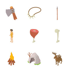 Prehistory icons set cartoon style vector