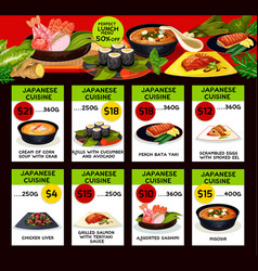 Price menu for japanese cuisine restaurant vector