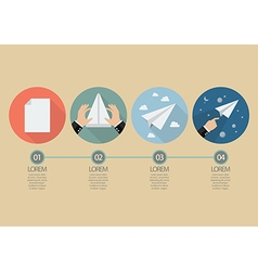 Process of hand folding the rocket paper vector image
