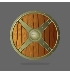 Round armor shield made of wood and metal vector