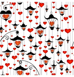 Seamless wallpaper with lanterns and heart for vector