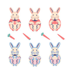Set cute flat rabbits for animation in red and vector