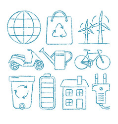 set of ecology icons in sketch style vector image