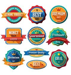 set retro vintage badges and labels flat design vector image