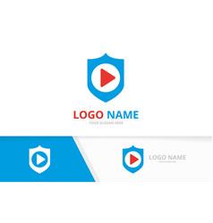 Shield and button play logo combination vector
