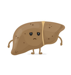 sick unhealthy sad liver with hepatitis a vector image
