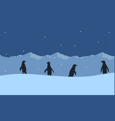 Silhouette of penguin on ice mountain scenery vector