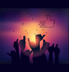 silhouettes of hands like symbol and birds sunset vector image