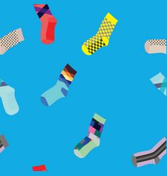 socks seamless pattern on blue background vector image
