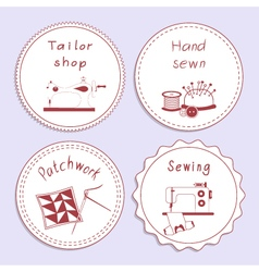 Stock set badges of sewing tools vector
