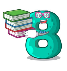 Student with book number eight volume logo the vector