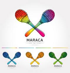 Stylized image of pair colorful maracas vector