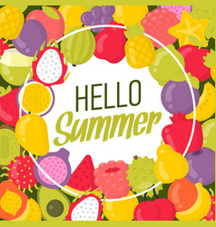 summer poster with a lot fruits and lettering vector image