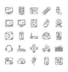 Technology hand drawn icons vector