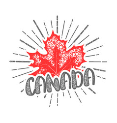 thanksgiving day in canada maple leaf stamp vector image