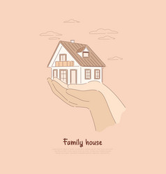 two hands holding house paying off mortgage vector image