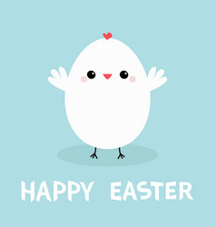 white chicken bird happy easter egg shape cute vector image
