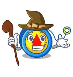 Witch yoyo mascot cartoon style vector