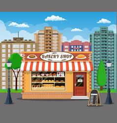 bakery shop front veiw flat icon vector image