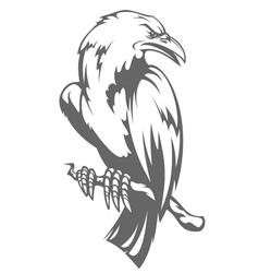 Dark raven on the branch vector image vector image