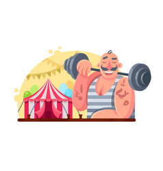 funny circus weight lifter vector image