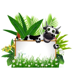 funny cow with blank sign vector image vector image