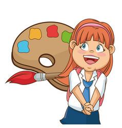 girl happy palllete colored brush school vector image