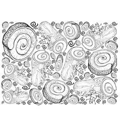 hand drawn of christmas cake or yule log cake back vector image